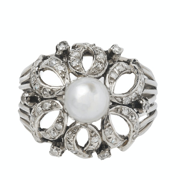 Art Deco Platinum, Diamond and Pearl Ring - image 1