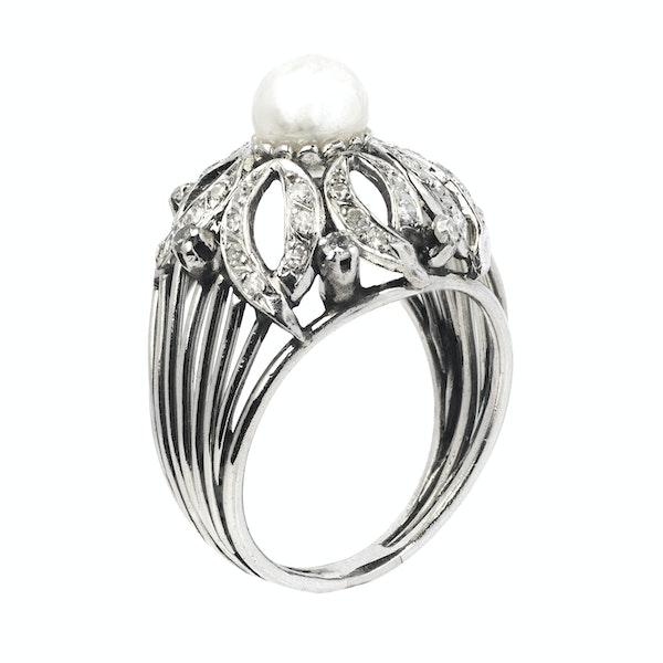 Art Deco Platinum, Diamond and Pearl Ring - image 2