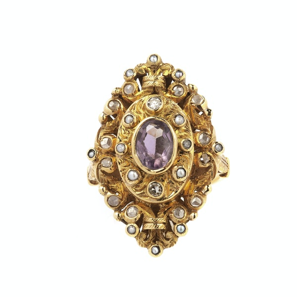 Antique Gold, Diamond, Pearl and Amethyst Ring - image 1