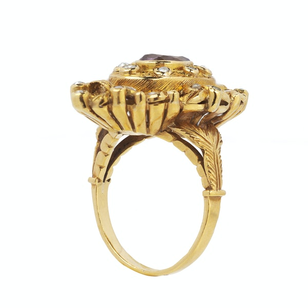 Antique Gold, Diamond, Pearl and Amethyst Ring - image 2