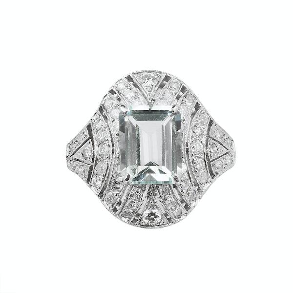 Art Deco Platinum, Diamond & Aquamarine Ring - image 1