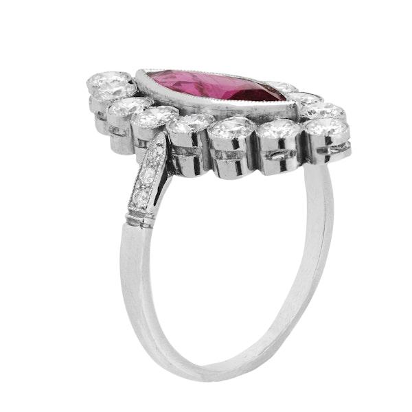 Vintage Diamond & Ruby Marquise Ring - image 2