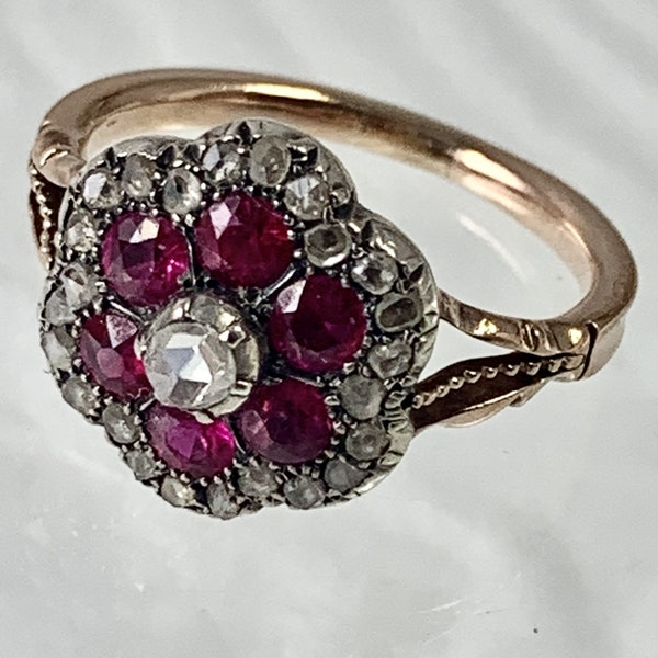 1860 ruby and diamond ring - image 1