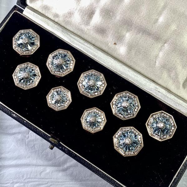 Set of aquamarine and diamond buttons - image 2