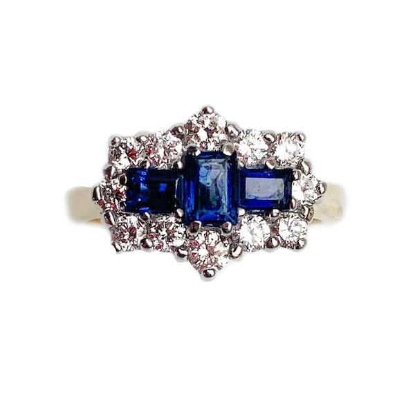 A 1950s Geometric Sapphire and Diamond Ring - image 2