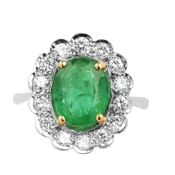 18K white gold 2.46ct Natural Emerald and 0.58ct Diamond Ring - image 1