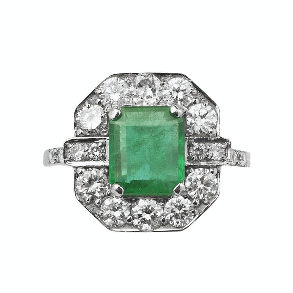 18K white gold 3.18ct Natural Emerald and 1.00ct Diamond Ring - image 1