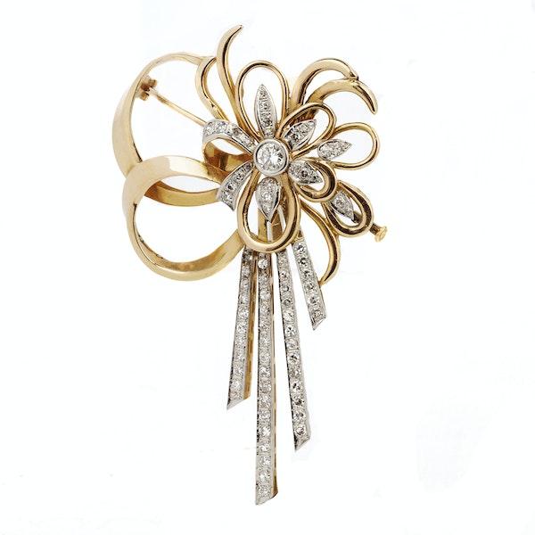 18K yellow gold Diamond Brooch - image 1