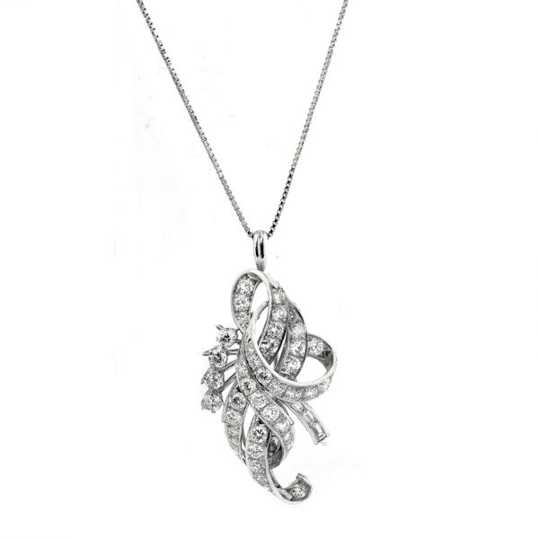 1920-s Platinum 3.50ct Diamond Pendant/Brooch. - image 1