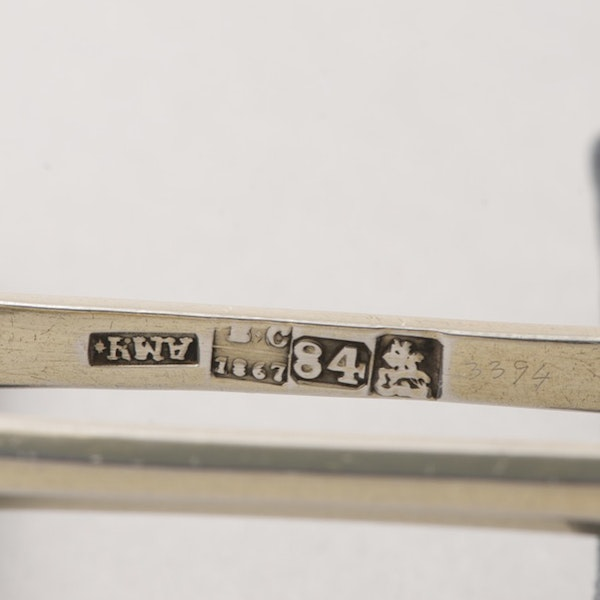 Date Moscow 1866 & 1867, Russian Silver Niello Spoons & Sugar Tongs, SHAPIRO & Co since1979 - image 5
