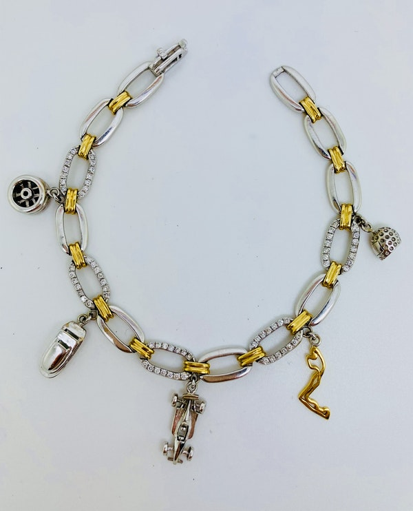 14K yellow/white gold 0.90ct Diamond Charm Bracelet. Monaco2008. - image 1