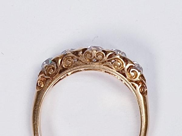 Antique five stone carved half hoop engagement ring  DBGEMS - image 2