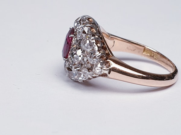 Antique ruby and old cut diamond engagement ring  DBGEMS - image 1