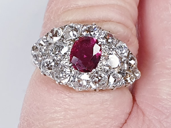 Antique ruby and old cut diamond engagement ring  DBGEMS - image 2
