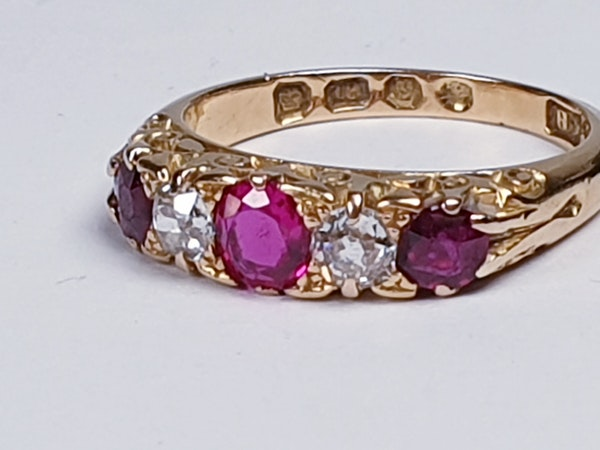 Antique Ruby and Diamond Ring  DBGEMS - image 2
