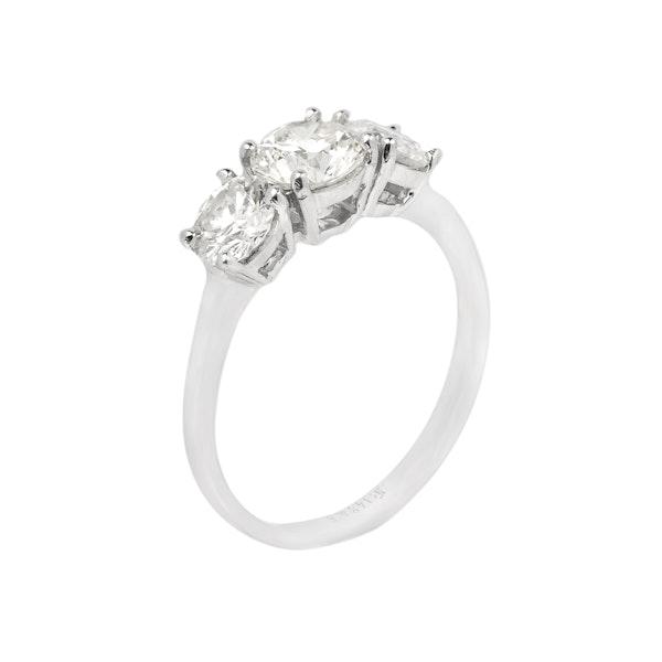 18K white gold, 3-stone 1.56ct Diamond Ring - image 2