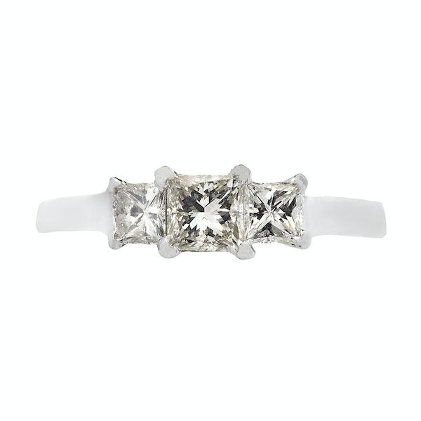 18K white gold, 3-stone 0.95ct Diamond Ring - image 1
