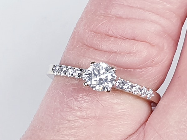 Diamond Solitaire Engagement Ring with Diamond Shoulders  DBGEMS - image 3
