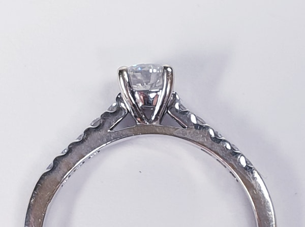 Diamond Solitaire Engagement Ring with Diamond Shoulders  DBGEMS - image 2