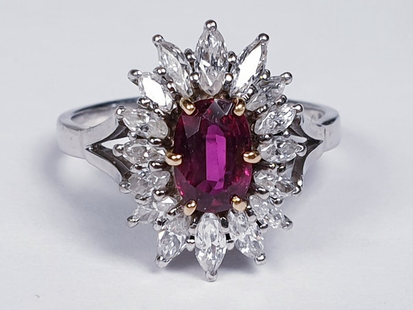 Ruby and Marquise Diamond Cluster Ring  DBGEMS - image 1