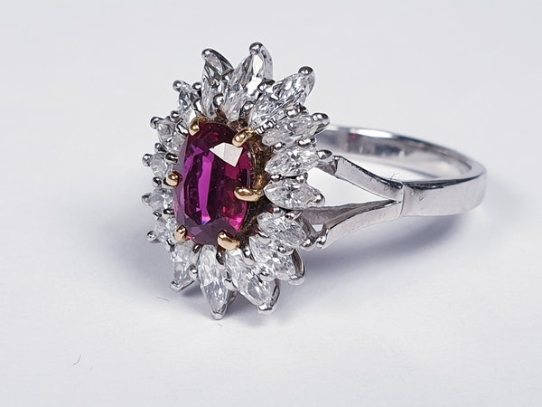 Ruby and Marquise Diamond Cluster Ring  DBGEMS - image 2