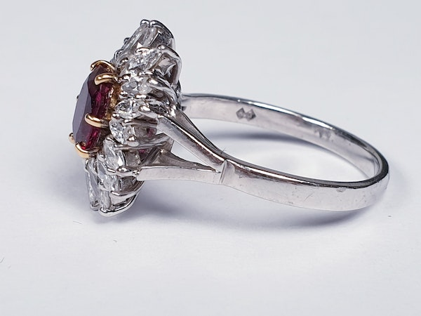 Ruby and Marquise Diamond Cluster Ring  DBGEMS - image 3