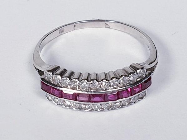 art deco gem ruby and diamond half hoop eternity ring  DBGEMS - image 2
