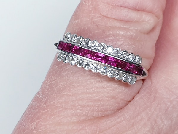 art deco gem ruby and diamond half hoop eternity ring  DBGEMS - image 1