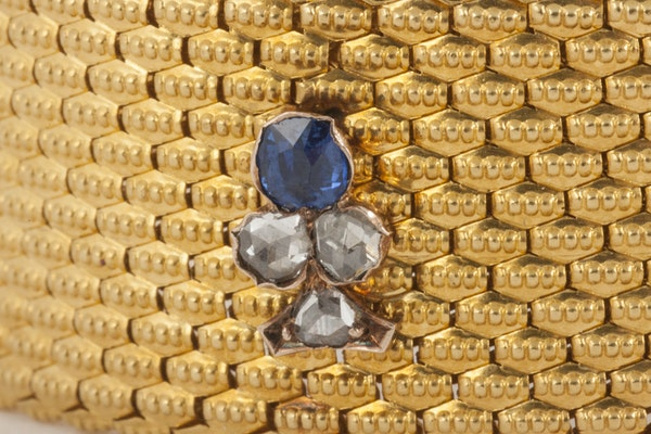 Antique Bracelet 18 Karat Gold with Sapphire and Diamond Trefoils, French circa 1880. - image 3
