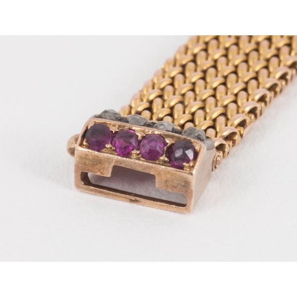 Antique Bracelet in 14 Karat Gold with Rubies and Diamonds, Austrian circa 1900. - image 2