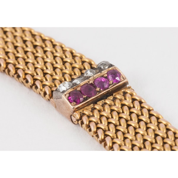 Antique Bracelet in 14 Karat Gold with Rubies and Diamonds, Austrian circa 1900. - image 4