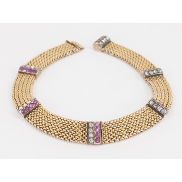 Antique Bracelet in 14 Karat Gold with Rubies and Diamonds, Austrian circa 1900. - image 1