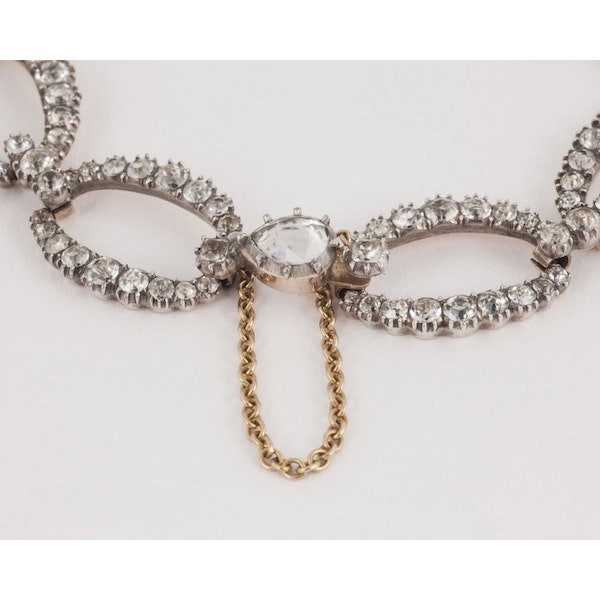 George III White Paste Foiled Antique Bracelet Oval Graduated Clusters, English circa 1810. - image 2