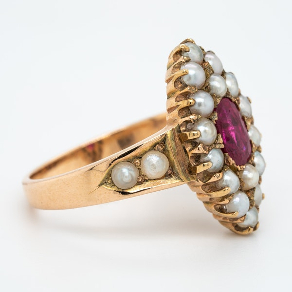 Edwardian ruby and pearl marquis shape ring - image 2