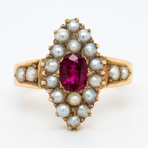 Edwardian ruby and pearl marquis shape ring - image 1
