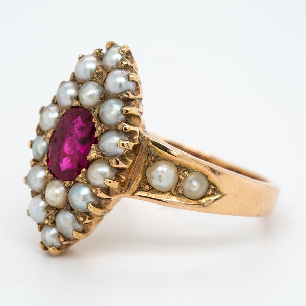 Edwardian ruby and pearl marquis shape ring - image 3
