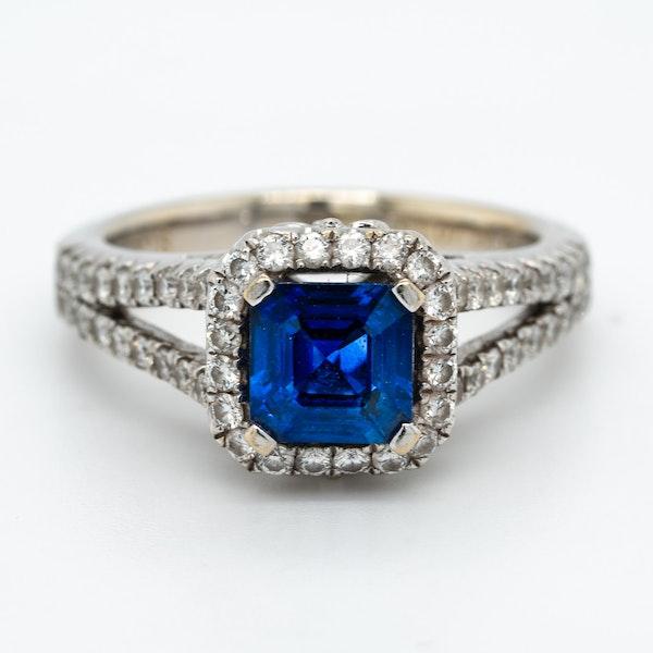 Sapphire and diamond rectangular cluster ring - image 1