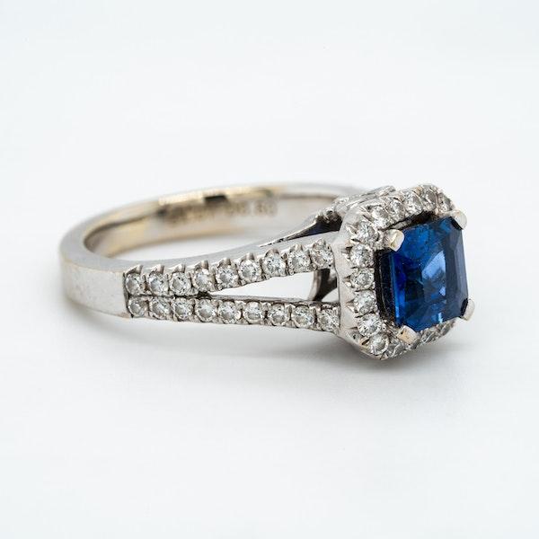 Sapphire and diamond rectangular cluster ring - image 2