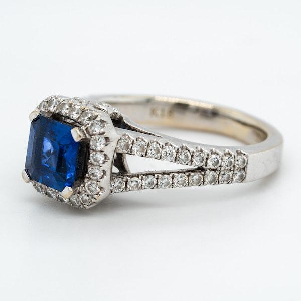 Sapphire and diamond rectangular cluster ring - image 3
