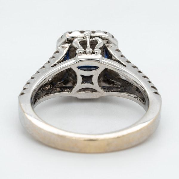 Sapphire and diamond rectangular cluster ring - image 4