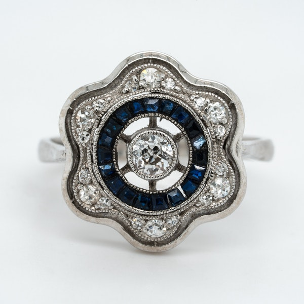Art Deco diamond  and sapphire flower shape cluster ring - image 1