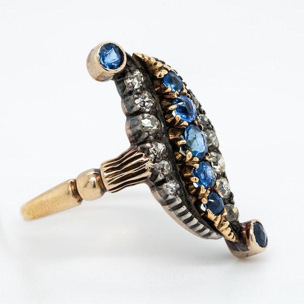 Diamond and sapphire Victorian modified lozenge shaped ring - image 2