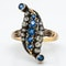 Diamond and sapphire Victorian modified lozenge shaped ring - image 1