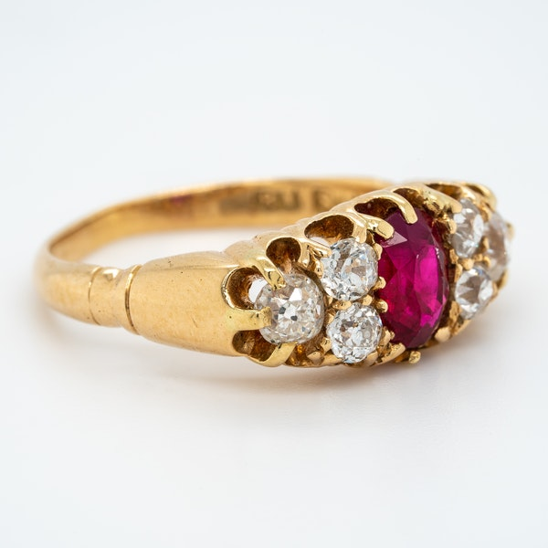 Ruby and diamond half hoop ring with trefoil shoulders - image 2
