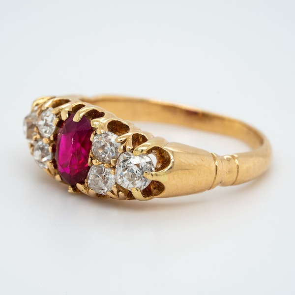 Ruby and diamond half hoop ring with trefoil shoulders - image 3