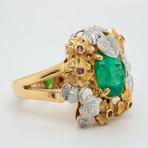 Two coloured gold emerald and ruby large cocktail ring - image 2