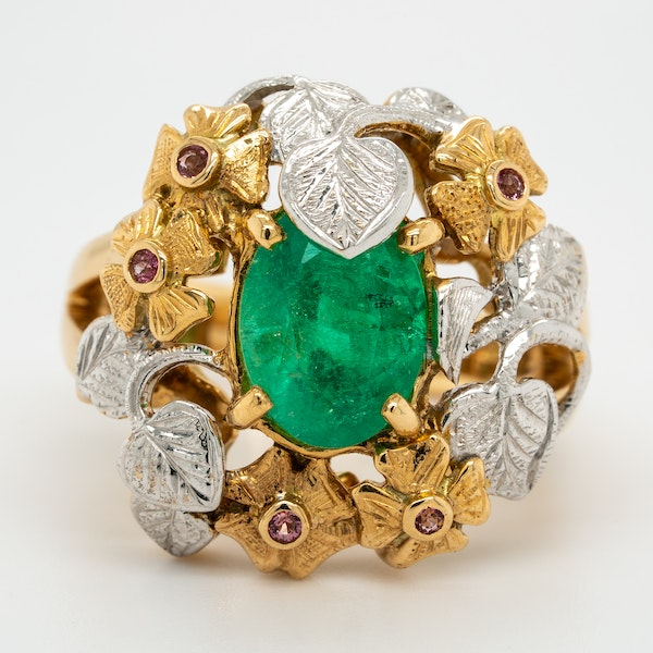 Two coloured gold emerald and ruby large cocktail ring - image 1