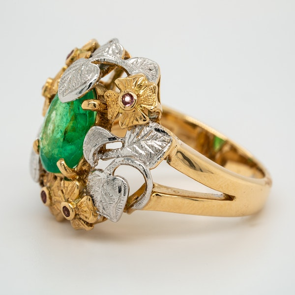 Two coloured gold emerald and ruby large cocktail ring - image 3