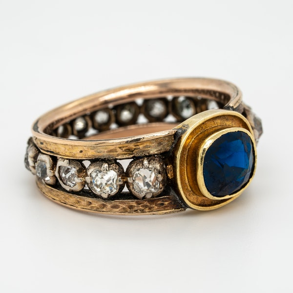"Edwardian sapphire and diamond ""all around"" ring - image 2"