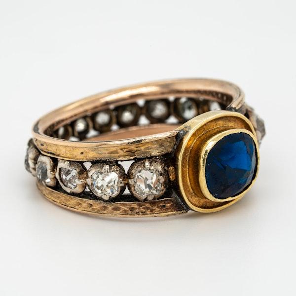 "Edwardian sapphire and diamond ""all around"" ring - image 2"